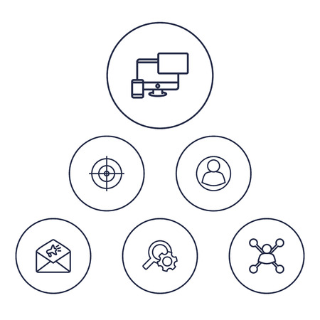 Set Of 6 Engine Outline Icons Set.Collection Of Item Identifier, Keywords, Guest And Other Elements.