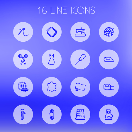 Set Of 16 Stitch Outline Icons Set.Collection Of Needle, Tailor, Crochet And Other Elements. Illustration