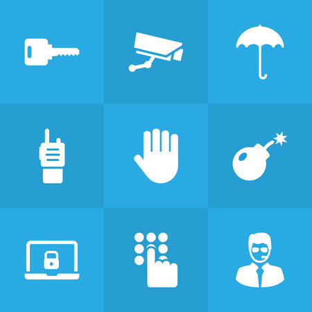 Set Of 9 Security Icons Set.Collection Of Notebook, Remote, Keypad And Other Elements.