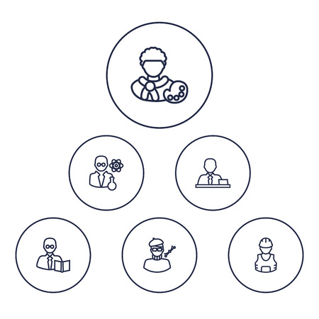 Set Of 6 Professions Outline Icons Set.Collection Of Artist, Manager, Scientist And Other Elements.