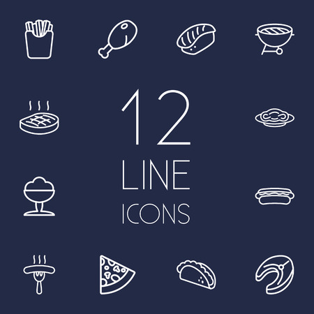 Set Of 12 Dish Outline Icons Set.Collection Of Japanese Roll, Pasta, Raw Fish And Other Elements.