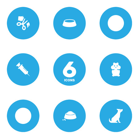 Set Of 6 Pets Icons Set.Collection Of Food, Injection, Dish And Other Elements.
