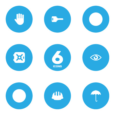 Set Of 6 Safety Icons Set.Collection Of Hardhat, Strongbox, Open And Other Elements.