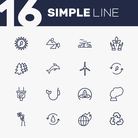 Set Of 16 Ecology Outline Icons Set.Collection Of Afforestation, Recycling, Eco And Other Elements. Ilustrace