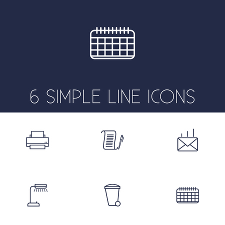 illuminator: Set Of 6 Bureau Outline Icons Set.Collection Of Recycle Bin, Agreement, Post And Other Elements.