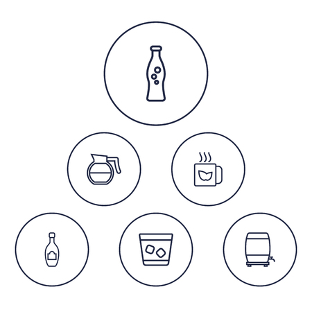 Set Of 6 Drinks Outline Icons Set.Collection Of Coffeepot, Wine Cask, Champagne And Other Elements. Illustration