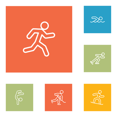 race winner: Set Of 6 Athletic Outline Icons Set.Collection Of Gymnastic, Puck, Snowboard And Other Elements.