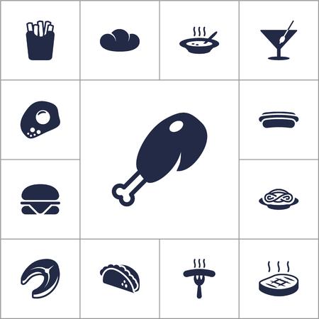Set Di 13 Dish Icone Set.Collection Di Frutti Di Mare, Baguette, Patate E Altri Elementi.