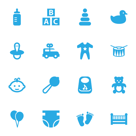 Set Of 16 Kid Icons Set.Collection Of Smock, Duck, Abc Block And Other Elements.
