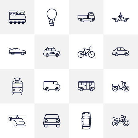 monorail: Set Of 16 Traffic Outline Icons Set.Collection Of Van, Tram, Bus And Other Elements.