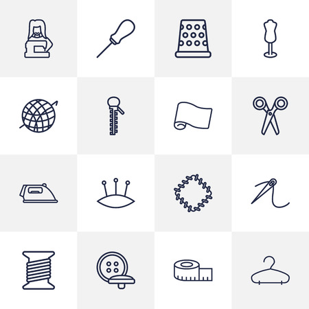 cable stitch: Set Of 16 Sewing Outline Icons Set.Collection Of Needle, Dummy, Tremble And Other Elements. Illustration