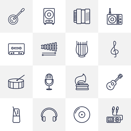 pendulum: Set Of 16 Music Outline Icons Set.Collection Of Acoustic, Pace, Guitar And Other Elements. Illustration