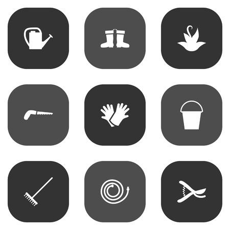 양동이, 정원 호스, 공장 및 다른 요소의 9 농장 아이콘 Set.Collection 집합입니다.
