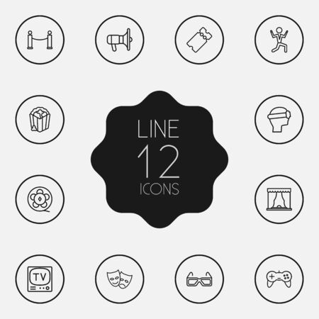 Set Of 12 Pleasure Outline Icons Set.Collection Of Masks, Tv Set, Theater And Other Elements. Illustration