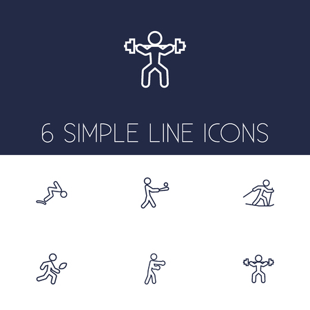 Set Of 6 Sport Outline Icons Set.Collection Of Swimming, Power-Lifting, Batting And Other Elements. Illustration