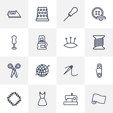 Set Of 16 Tailor Outline Icons Set.Collection Of Buttons, Patch, Needle And Other Elements.