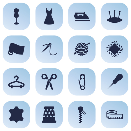 Collection Of Evening Gown, Fastener, Meter And Other Elements.  Set Of 16 Stitch Icons Set. Illustration