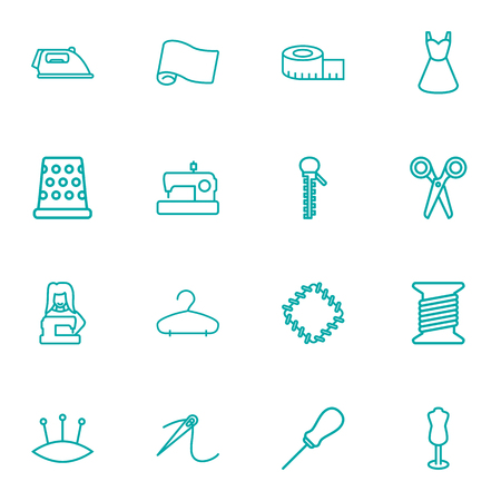 Collection Of Hanger, Patch, Tailor And Other Elements.  Set Of 16 Stitch Outline Icons Set. Vectores