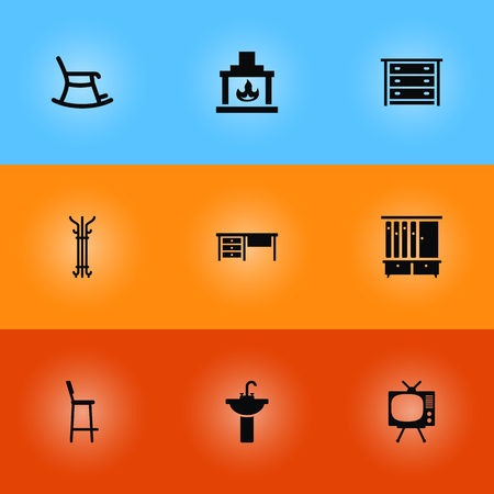 Collection Of Chair, Sink, Coat Stand Elements.  Set Of 9 Decor Icons Set.