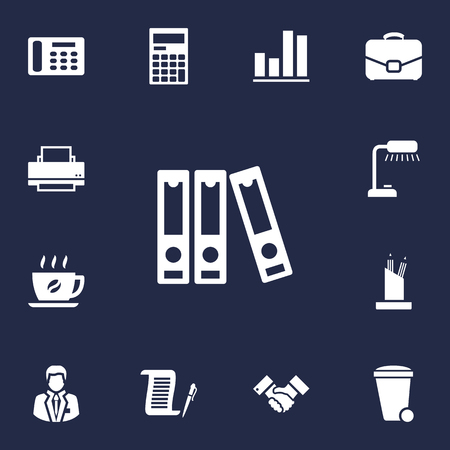 home addition: Set Of 13 Bureau Icons Set.Collection Of Diagram, Calculator, Trash Can And Other Elements.