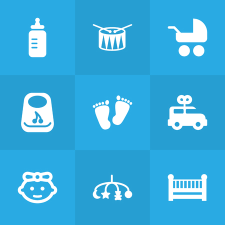 Set Of 9 Baby Icons Set.Collection Of Milk, Pram, Breastplate And Other Elements.