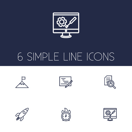 checklist: Set Of 6 Business Outline Icons Set.Collection Of Startup, Research, Planning And Other Elements. Illustration