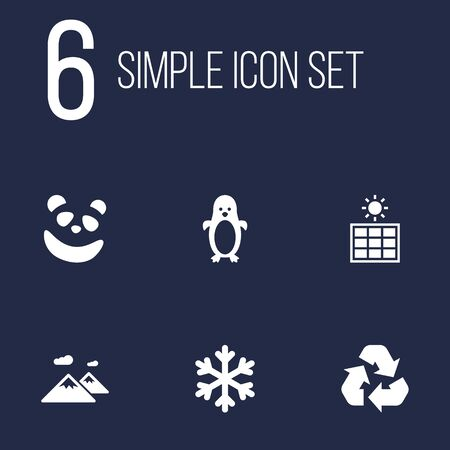 pinnacle: Set Of 6 Bio Icons Set.Collection Of Conservation, Polar Bird, Solar Panel And Other Elements.