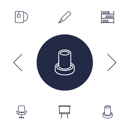 bibliography: Set Of 6 Office Outline Icons Set.Collection Of Board Stand, Tea, Pencil Elements.