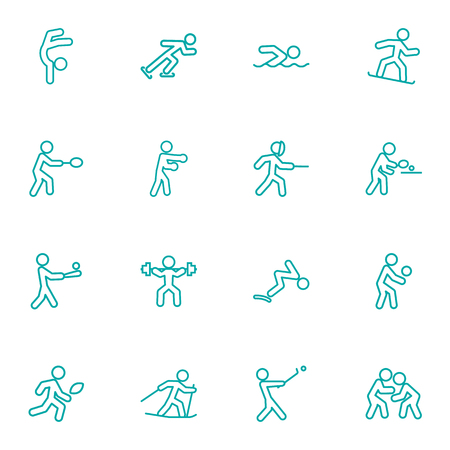 Set Of 16 Sport Outline Icons Set.Collection Of Swordplay, Pong Ping, Batting And Other Elements.