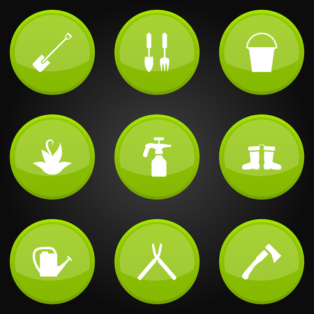 desinfectante: Set Of 9 Household Icons Set.Collection Of Rubber Boots, Scissors, Shovel And Other Elements.