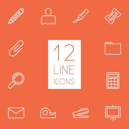 Ensemble de 12 instruments Outline Icons Set.Collection de taille-crayon, tableau blanc, pince à papier et autres éléments. Banque d'images - 82993845