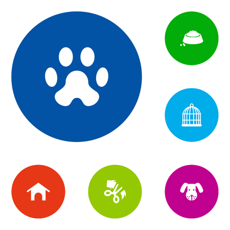 Set Of 6 Animals Icons Set.Collection Of Scissor, Home, Footprint And Other Elements.