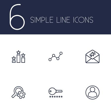 keywords: Set Of 6 Search Outline Icons Set.Collection Of Running Title, Arrangement, Guest And Other Elements. Illustration