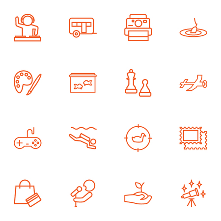 sinker: Set Of 16 Hobbie Outline Icons Set.Collection Of Painting, Video Game, Camping And Other Elements.