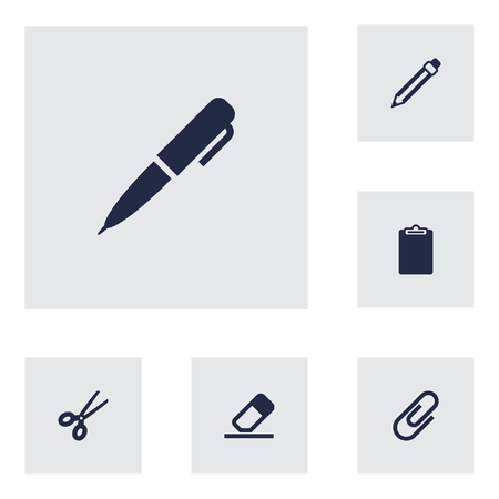 checklist: Set Of 6 Tools Icons Set.Collection Of Rubber, Information, Clip And Other Elements. Illustration