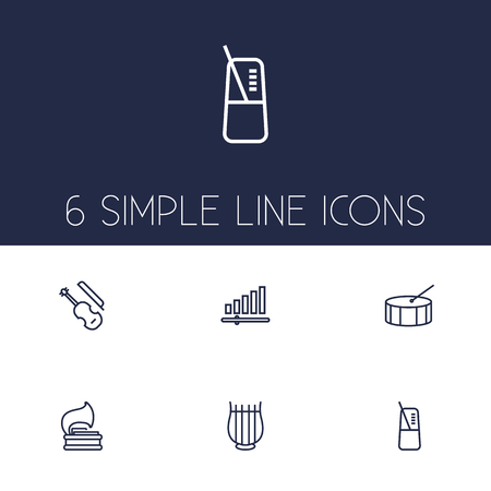 Set Of 6 Melody Outline Icons Set.Collection Of Pace, Fiddle, Vinyl And Other Elements. Illustration