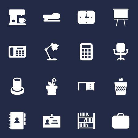 Set Of 16 Workspace Icons Set.Collection Of Calculate, Phone, Flower And Other Elements. Illustration