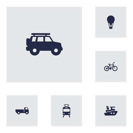 tramcar: Set Of 6 Transport Icons Set.Collection Of Streetcar, Bicycle, Boat And Other Elements. Illustration