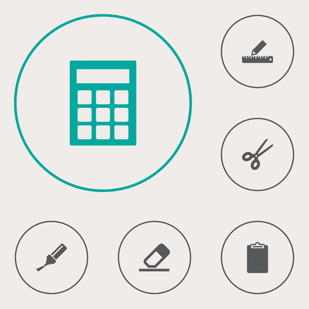 checklist: Set Of 6 Stationery Icons Set.Collection Of Calculate, Clippers, Highlighter And Other Elements. Illustration
