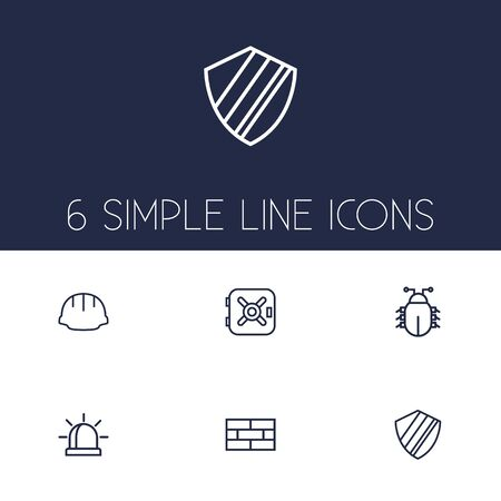 Ensemble de 6 Set de Procuring Outline Icons Set.Collection de virus, pare-feu, travailleur et autres éléments. Vecteurs
