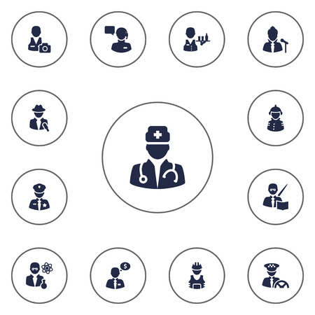 scholarly: Set Of 13 Professions Icons Set.Collection Of Medic, Scholarly, Producer And Other Elements.