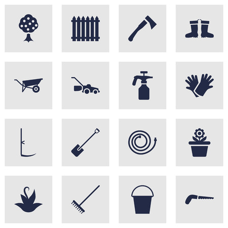 Set Of 16 Farm Icons Set.Collection Of Fence, Shovel, Hacksaw And Other Elements. Illustration