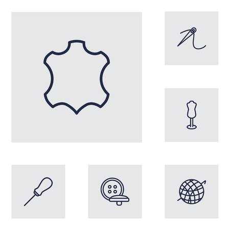 Set Of 6 Stitch Outline Icons Set.Collection Of Leather, Dummy, Crochet And Other Elements. Vectores