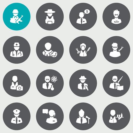 Conjunto de 16 iconos de profesiones Set.Colección de productor, agente de dinero, codificador y otros elementos.