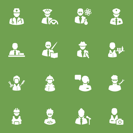 Set Of 16 Professions Icons Set.Collection Of Leaner, Coder, Cameraman And Other Elements. Illustration