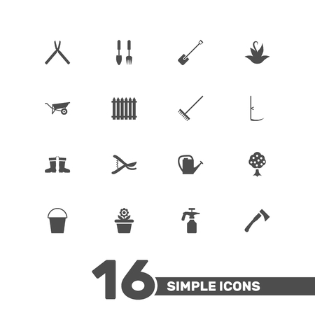 pulverizer: Set Of 16 Farm Icons Set.Collection Of Garden, Tools, Rubber Boots And Other Elements.