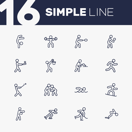 wrestle: Set Of 16 Sport Outline Icons Set.Collection Of Box, Rocket, Swimming And Other Elements.