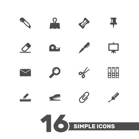 Ensemble de 16 icônes de papeterie ensemble. Banque d'images - 83064780