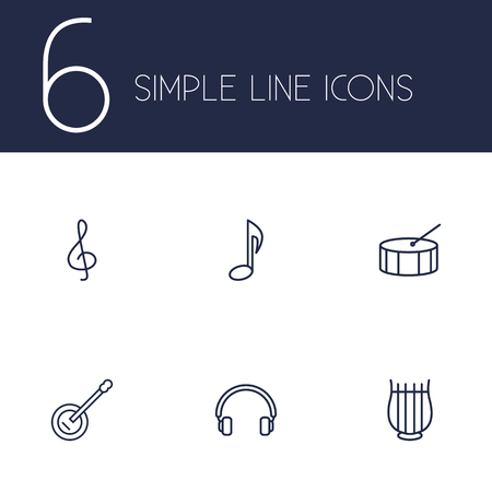 drumming: Set Of 6 Song Outline Icons Set.Collection Of Stringed, Guitar, Headphones And Other Elements. Illustration