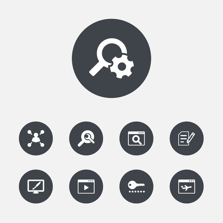 Set Of 9 Optimization Icons Set.Collection Of Search, Engine, Movie And Other Elements. Illustration